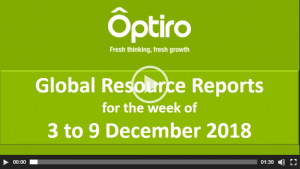 Summary of Global Resource Reporting Intelligence for the week of 3 to 9 December 2018