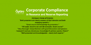 Corporate Compliance in Resource & Reserve Reporting: 6 Dec 2017